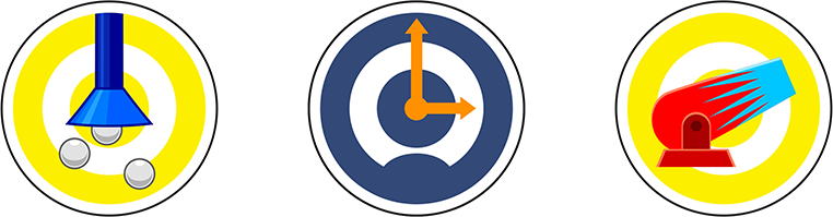 Icône aspirateur, chronomètre, canon