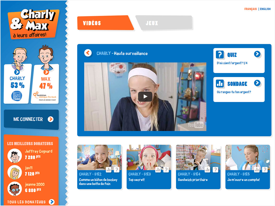 Capture Écran menu player vidéo et sélection vidéos