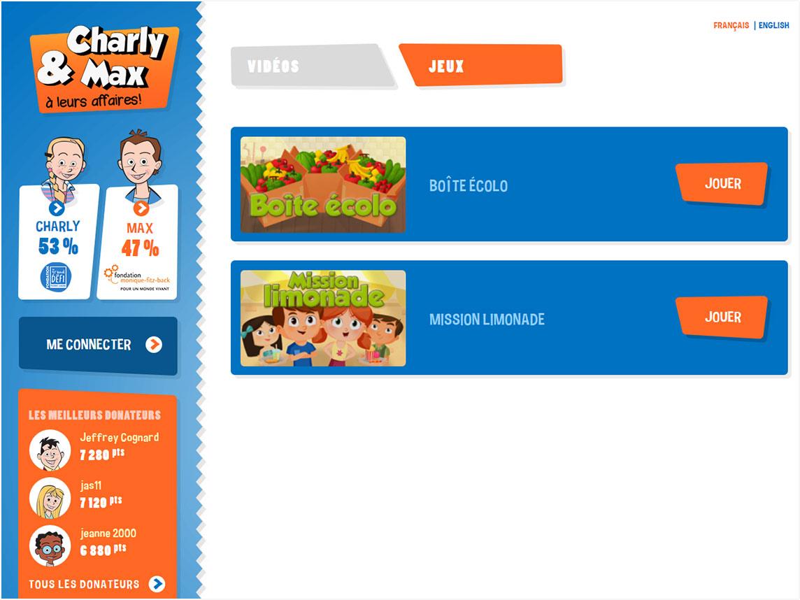Capture Écran menu sélection jeux
