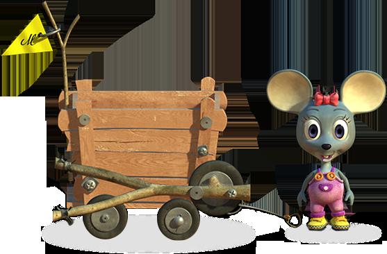 La souris Mia et son chariot
