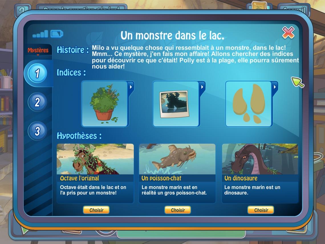 Capture écran, interface résolution mystère
