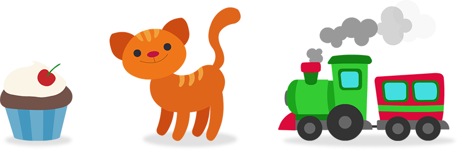 Cupcake, chat, train jouet